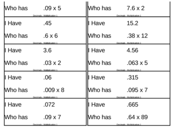I Have, Who Has Game - Decimals - Multiplication 1