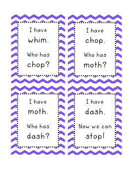 I Have, Who Has Game Digraphs (sh, ch, th, wh)