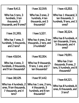 I Have, Who Has Game - Expanded Form of Numbers (Place Value)
