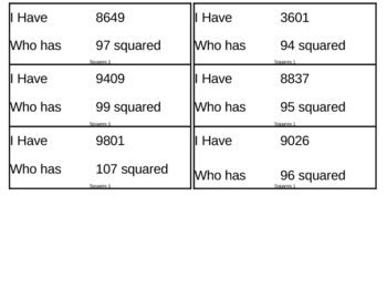 I Have, Who Has Game - Exponents - Squares 1