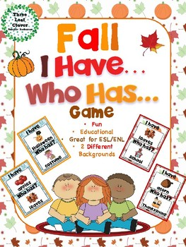 I Have, Who Has? Game – Fall - Great for ESL/ENL