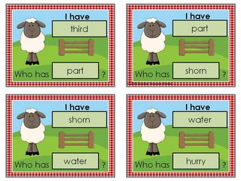 I Have - Who Has Game *Farm* Theme **Bossy r Words**  36 cards