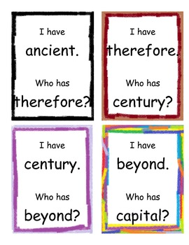I Have, Who Has Game-Fifth Grade High Frequency Words