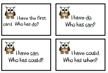 """I Have, Who Has"" Game First Grade List 3A-3B Sight Words"