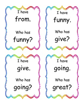 I Have, Who Has Game-First Grade Sight Words
