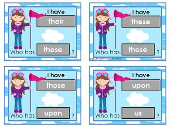 I Have - Who Has Game *Flight* Theme **2nd Grade Dolch Sight Words **  24 cards