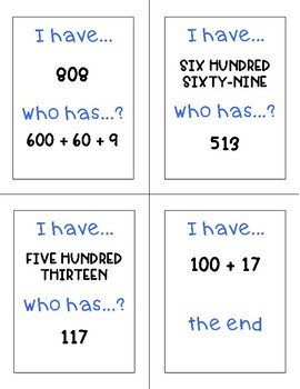 I Have Who Has Game: Forms of a Number (Standard, Expanded, and Word Form)