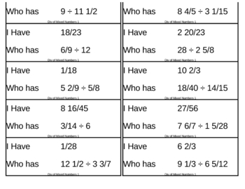 I Have, Who Has Game - Fractions - Mixed - Division