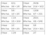 I Have, Who Has Game - Fractions - Simple - Addition - Unlike Denom 2