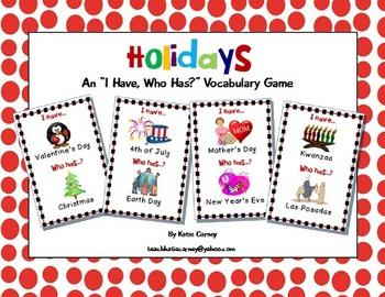 I Have, Who Has? Game - Holidays - Basic Vocabulary