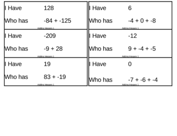 I Have, Who Has Game - Integers - Addition 1