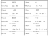 I Have, Who Has Game - Integers - Multiplication 2