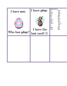 I Have Who Has Game. Kindergarten Sight Word Edition