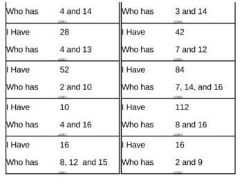 I Have, Who Has Game - Least Common Multiples 1