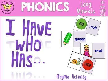 I Have Who Has Game - Long Vowels ai, ee, igh, oa