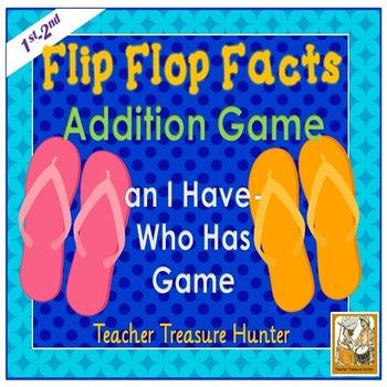 I Have - Who Has Game Math addends Flip Flop Poster & Worksheet