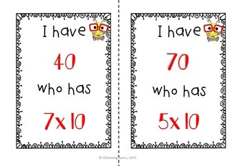 I Have, Who Has Game - Multiplication Facts {10 x }
