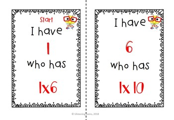 I Have, Who Has Game - Multiplication Facts - Multiplying by 1 - FREEBIE