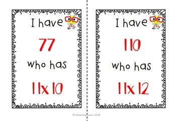 I Have, Who Has Game - Multiplication Facts - Multiplying by 11 & 12