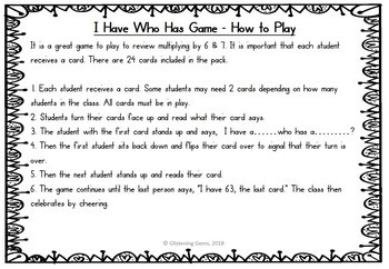 I Have, Who Has Game - Multiplication Facts - Multiplying by 6 & 7