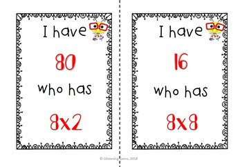 I Have, Who Has Game - Multiplication Facts - Multiplying by 8 & 9