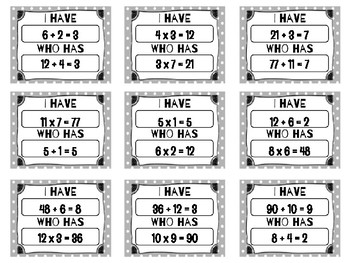 I Have Who Has Multiplication and Division Fact Families