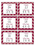 I Have, Who Has Game: Multiplication of Integers