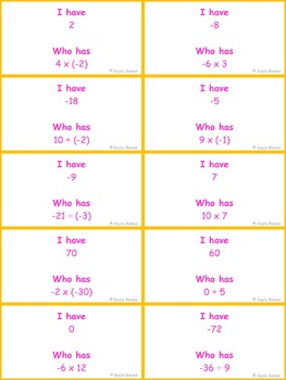 I Have, Who Has Game: Multiplying and Dividing Integers