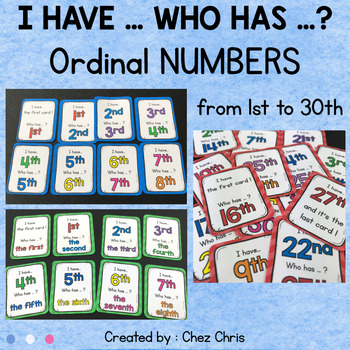 I Have Who Has Game - Ordinal Numbers from 1st to 30th
