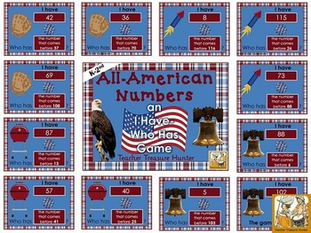 I Have - Who Has Game *Patriotic* Theme **Numbers ~ Math**  24 cards