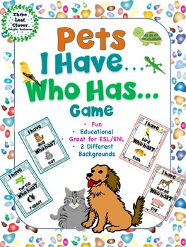 I Have, Who Has? Game – Pets -- Great for ESL/ENL