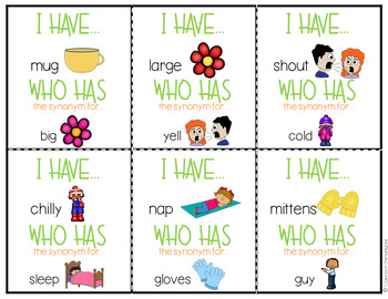 I Have Who Has Game: Grammar Edition {Synonyms FREEBIE}