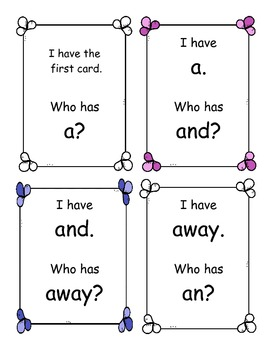 I Have, Who Has Game-Pre-primer Sight Words