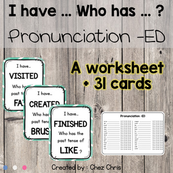 I Have Who Has Game - Pronunciation -ED (past tense)