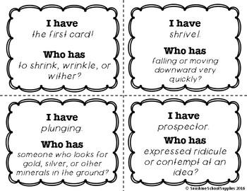 4th Grade Vocabulary Game (Reading Wonders Unit 5 Week 2)