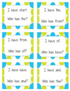 I Have Who Has Game / Sight Words set 1