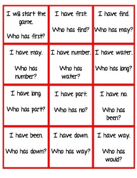 I Have Who Has Game / Sight Words set 4
