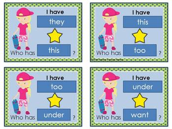 I Have - Who Has Game *Sports* Theme **Dolch Sight Words **  24 cards