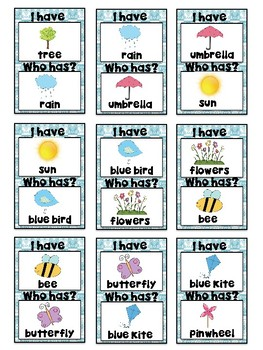 I Have, Who Has? Game – Spring - Great for ESL/ENL
