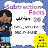 I Have, Who Has Game Subtraction Facts within 20
