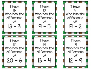 I Have, Who Has Game - Subtraction Using Numbers 0 - 20