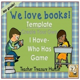 I Have - Who Has Game TEMPLATE Books/READING Theme **Make Your Own Game**