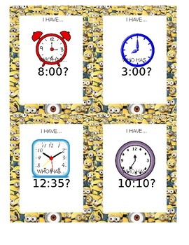 I Have, Who Has Game - Telling Time and Finding Elapsed Time