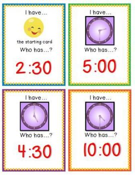 """""""I Have, Who Has?"""" Game - Telling Time to the Hour & Half-Hour (CCSS Math)"""