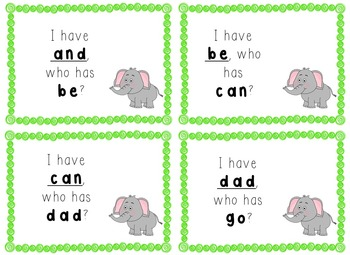 I Have, Who Has Game - Texas Treasures Kinder Sight Words - Elephants