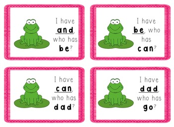 I Have, Who Has Game - Texas Treasures Kinder Sight Words - FROGS