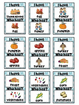 I Have, Who Has? Game – Thanksgiving -- Great for ESL/ENL