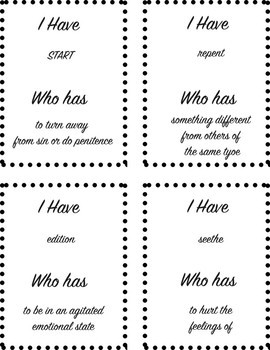 I Have Who Has Game: The Hate U Give (CH 1-5 Vocab.)