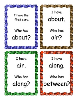 I Have, Who Has Game-Third Grade Sight Words