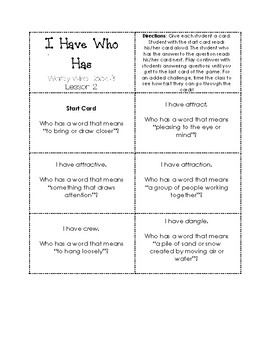 I Have Who Has Game Wordly Wise 3000 Book 3 Lesson 2